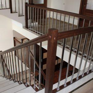 Перила лестничные с деревянным поручнем Н-ПДП-14