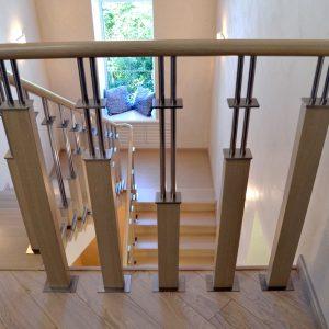 Перила лестничные с деревянным поручнем Н-ПДП-23