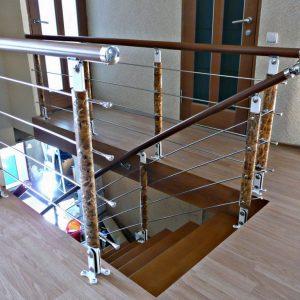 Перила лестничные с деревянным поручнем Н-ПДП-26