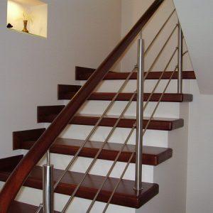 Перила лестничные с деревянным поручнем Н-ПДП-4